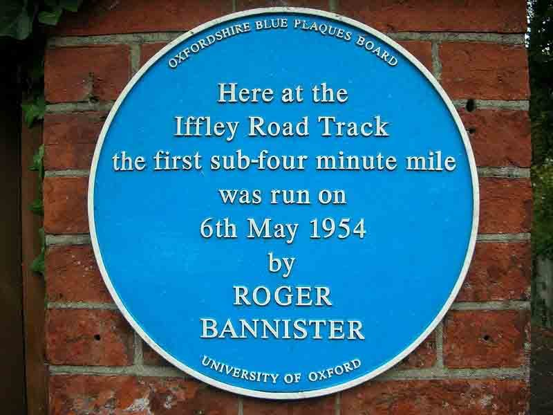 Plaque commemorating the first time a human ran a mile in under 4 minutes. (Source: Wikimedia Commons)