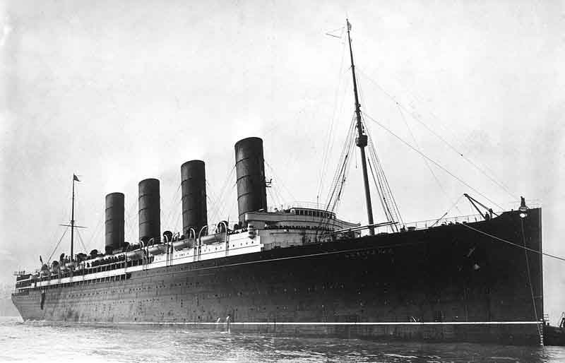 The RMS Lusitania, shown here, was sunk by a German U-boat May 7, 1915. (Source: Library of Congress/Wikimedia Commons)