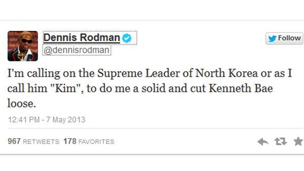 NBA star Dennis Rodman asked North Korean dictator Kim Jong Un to release an American citizen as a personal favor. (Source: Twitter)