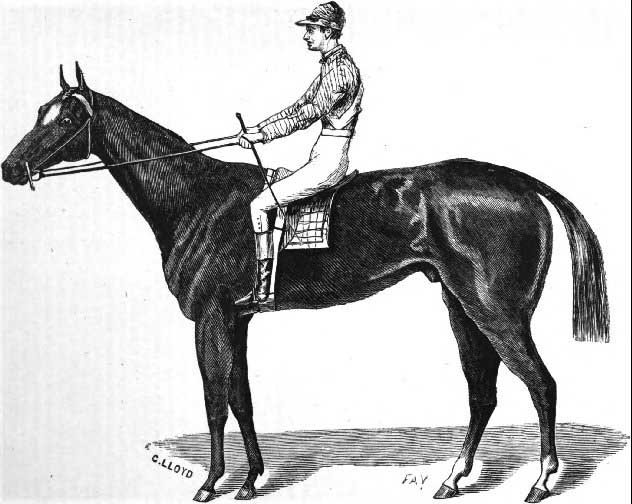 This drawing shows Aristides, the winner of the first Kentucky Derby held May 17, 1875. (Source: Wikimedia Commons)