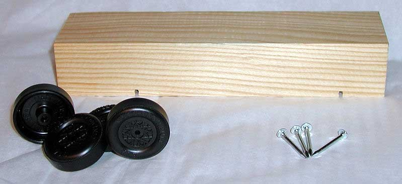 A pinewood derby kit. (Source: Wikimedia Commons)
