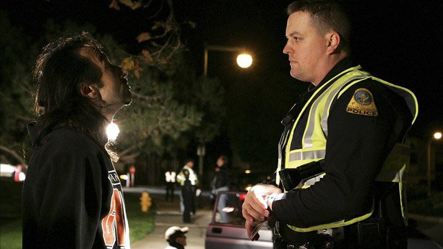 A police officer conducts a sobriety test on a suspected DUI driver. (Source: San Bruno PD)