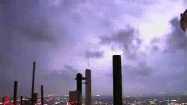 Lightning was caught by a tower cam in downtown Fort Worth Wednesday night. (Source: KTVT/CNN