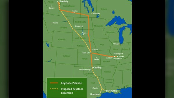 This State Department map shows the current pipeline in orange and the proposed extension designated by a yellow dashed line. (Source: The State Department)