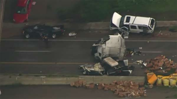 A tornado in Oklahoma flipped semi trailers and ripped cars apart. (Source: KFOR/CNN)