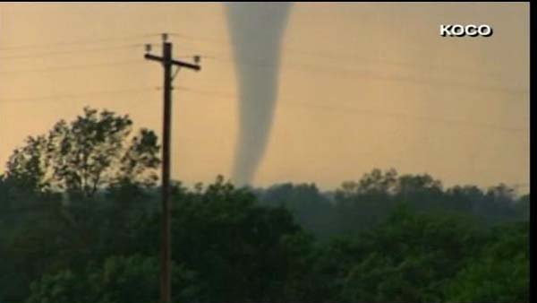 A funnel cloud has been spotted outside of Oklahoma City. (Source: KOCO/CNN)