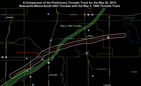 A tornado touched down in the same area in 1999. The National Weather Service released a graphic showing the paths of the two storms. (Source: The National Weather Service, Norman, OK)