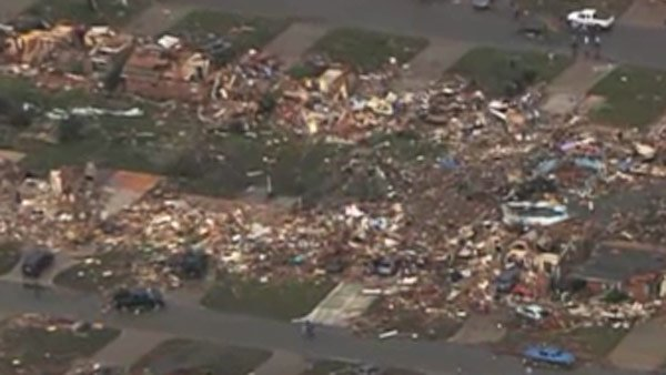 The tornado leveled homes in Moore, OK. (Source: KFOR/CNN)