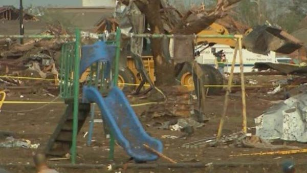 The scene at a Moore, OK, elementary school was one of massive destruction Monday. (Source: CNn)