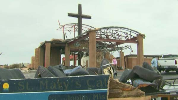 Joplin's St. Mary's Catholic Church was destroyed but has plans to be rebuilt and reopened by December 2014. (Source: CNN)