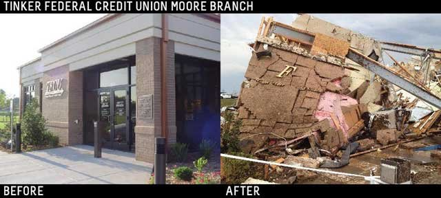 Before-and-after photos of the Tinker Federal Credit Union building where 22 people survived a devastating tornado in the facility's vault. (Source: Tinker Federal Credit Union)