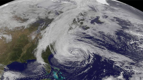 NOAA satellite imagery of Superstorm Sandy on Nov. 28, 2012. (Source: NOAA/NASA)