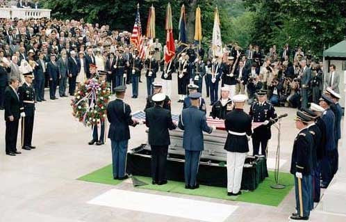 A funeral for an unknown soldier from the Vietnam War was held at Arlington National Cemetery on May 28, 1984. The soldier was later identified as Michael Joseph Blassie and his remains were removed. (Source: Department of Defense/Wikimedia Commons)