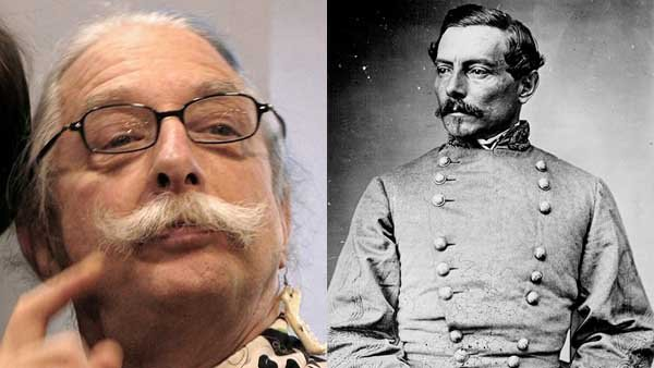 This composite image shows American doctor Patch Adams, left, and Confederate Gen. P.G.T. Beauregard, right, who share a birthday and a mustache. (Source: Wikimedia Commons)