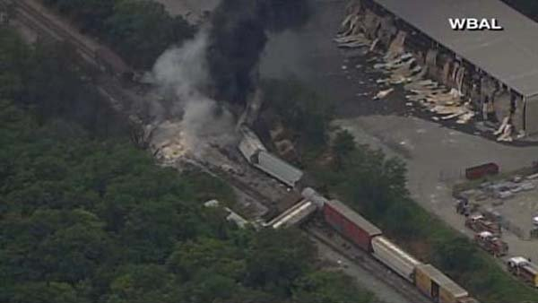 A train derailed in the northern suburbs of Baltimore. (Source: WBAL/CNN)