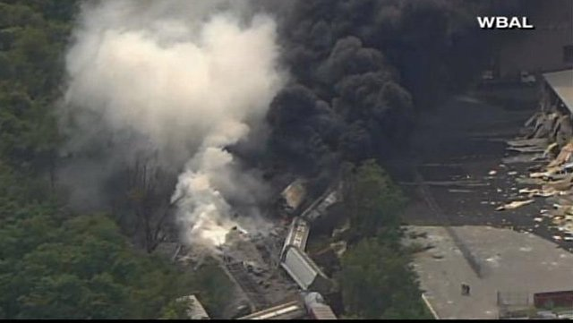 Hazmat teams are on the scene of a train derailment near Baltimore. (Source: WBAL/CNN)