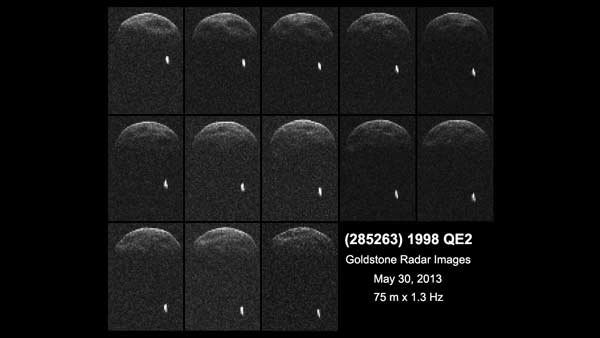Radar images of asteroid 1998 QE2 were captured by NASA's Jet Propulsion Laboratory in Pasadena, CA on May 29, nearly 3.75 million miles from Earth. (Source: NASA/JPL-Caltech/GSSR)