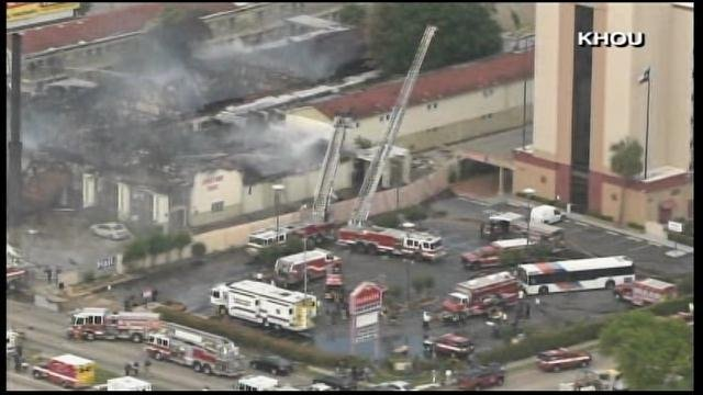 The fire was upgraded from 3 alarms to 4 alarms and then to 5 alarms after 1 p.m. (Source: KHOU/CNN)