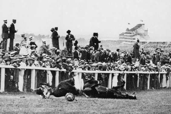 Emily Davison is run over by a horse while protesting for women's suffrage June 4, 1913. (Source: Wikimedia Commons)