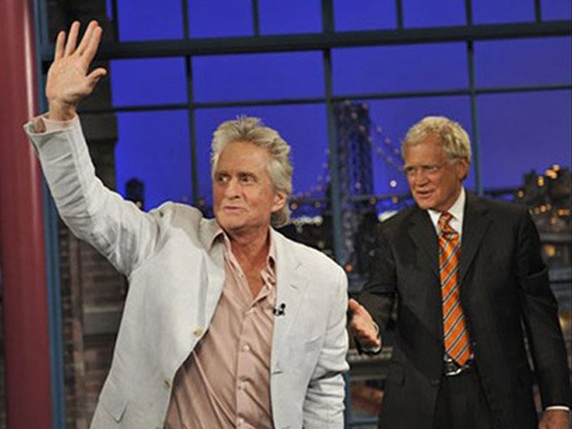 "Michael Douglas said in a recent interview cunnilingus was responsible for his throat cancer. Douglas, who is cancer-free, publicly announced his diagnosis in 2010 on ""Late Show with David Letterman."" (Source: CBS/MGN)"