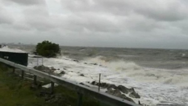 Waves stirred up by Tropical Storm Andrea crash along the Courtney Campbell Causeway in Tampa. (Source: Bay News 9/CNN)