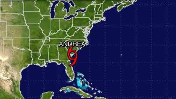 Tropical Storm Andrea has moved overnight through Georgia into South Carolina. (Source: NOAA)