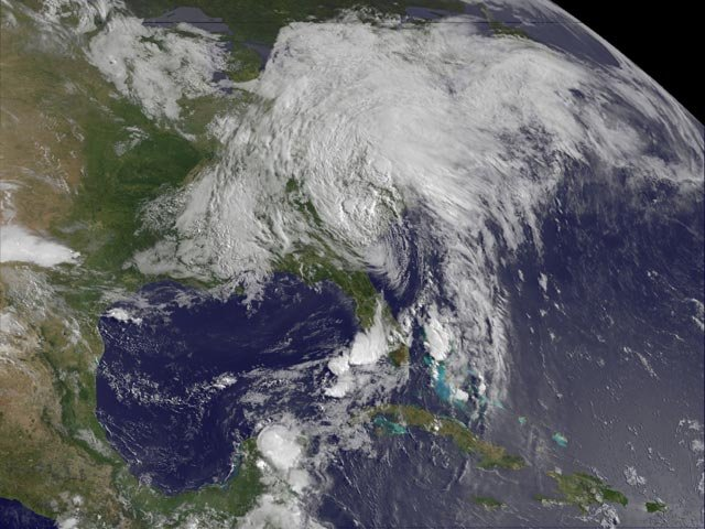 This image of tropical storm Andrea was assembled from data collected by NOAA's GOES-14 satellite at 8:31 a.m. EDT on June 7, when the storm's center was about 35 miles north-northwest of Charleston, SC. (Source: NASA/NOAA GOES Project)