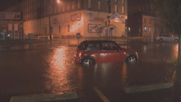 Roads were flooding Friday in Falls River, MA, ahead of Post-tropical Cyclone Andrea's arrival. (Source: CNN)