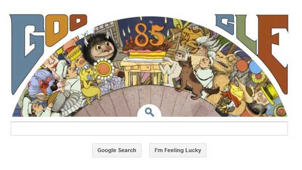 A screen grab of the final frame of Google's animated doodle celebrating the birthday of children's author Maurice Sendak. (Source: RNN)