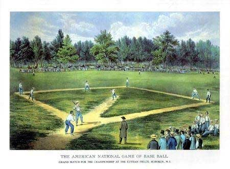A lithograph depicting a baseball game at the Elysian Fields in Hoboken, NJ, which was the site of the first recorded baseball game June 19, 1846. (Source: Wikimedia Commons)
