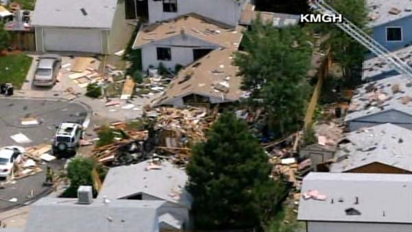 A natural gas explosion leveled two homes in Westminster, CO, a suburb of Denver. (Source: KMGH/CNN)