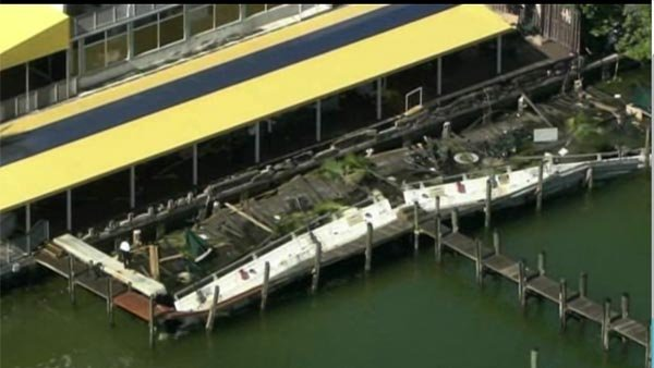 Aerials from the deck collapse at Shucker's Bar and Grill in North Bay Village, FL. (Source: WSVN/CNN)