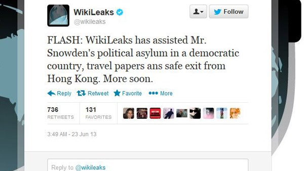 Wikileaks took credit for Snowden's escape. (Source: Twitter screengrab)