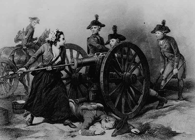 The legend of Molly Pitcher, shown here in an engraving, grew out of the Battle of Monmouth, which was fought June 28, 1778. (Source: National Archives/Wikimedia Commons)