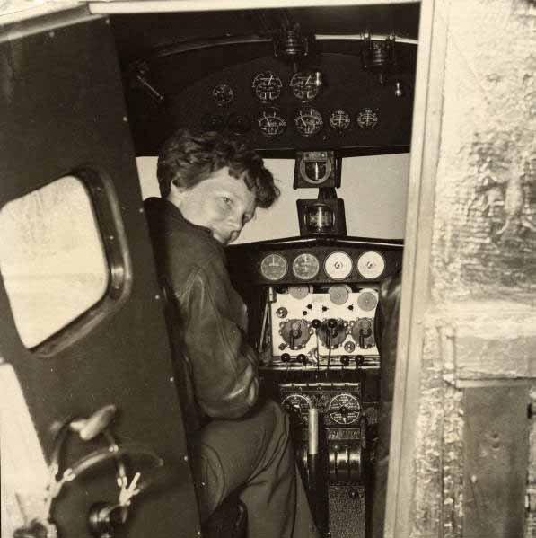 Amelia Earhart sits in the cockpit of her Lockheed Model 10 Electra. Earhart went missing July 2, 1937. (Source: Wikimedia Commons)