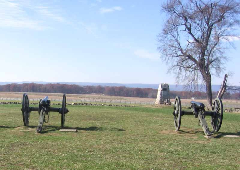 A view from the Union Army position at Gettysburg looking over the field made famous by Pickett's Charge on July 3, 1863. (Source: Wikimedia Commons/Joshua Sherurcjj)