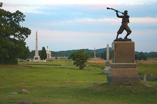 The High-water Mark of the Confederacy shows the furthest point the Confederate Army advanced during the Battle of Gettysburg. (Source: Wikimedia Commons)