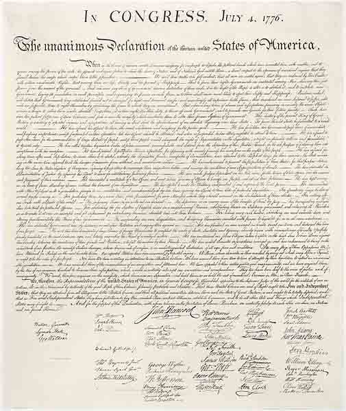 The Declaration of Independence was signed July 4, 1776. (Source: Wikimedia Commons)