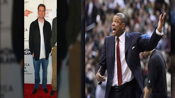 Bill Simmons and Doc Rivers played the roles of a dumped girlfriend and the man who upgraded. (Source: David Shankbone/Wikimedia Commons, Keith Allison/Flickr)