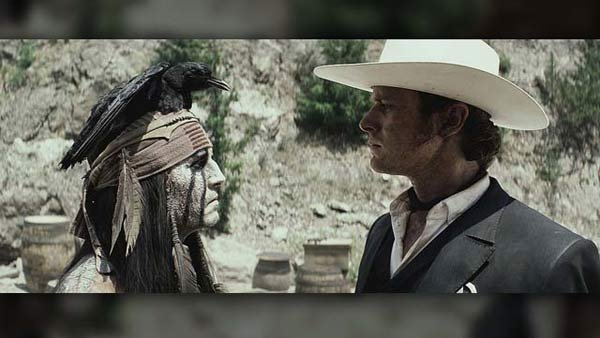 "Johnny Depp (left) and Armie Hammer (right) star in the Disney reboot of the 1950s classic 'The Lone Ranger.""  (Source: Flickr/The_JIFF)"