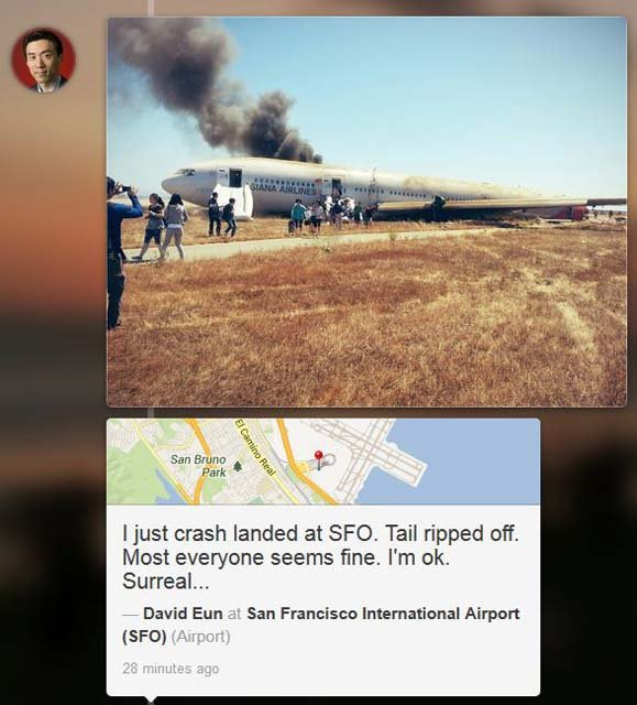 "David Eun posted this photo on the social media website ""Path"" after exiting the plane that crashed. (Source: David Eun/Path)"