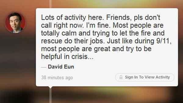 Samsung executive David Eun was on board the aircraft. (Source: David Eun/Path)
