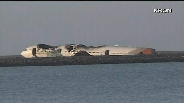 Asiana Airlines Flight 214 crashed on one San Francisco International Airport's runways Saturday. (Source: KRON/CNN)