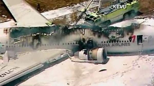 The crashed plane after the fire was put out. (Source: KTVU/CNN)
