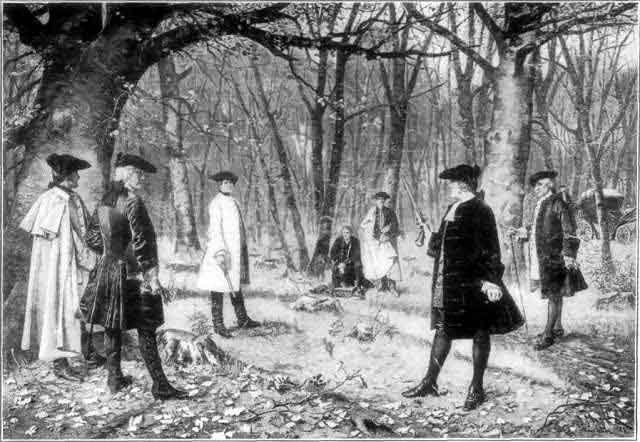 An artist's rendering of the duel between Aaron Burr and Alexander Hamilton on July 11, 1804. (Source: Wikimedia Commons)