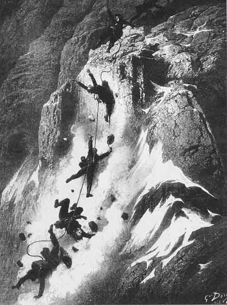 A drawing of the tragic descent following the first ascent of the Matterhorn on July 14, 1865, by Gustave Dore. (Source: Wikimedia Commons)
