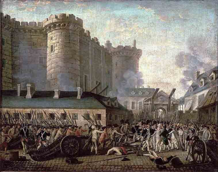 An artist's depiction of the Storming of the Bastille on July 14, 1789. (Source: Wikimedia Commons)