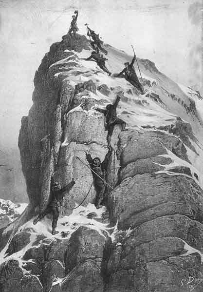 A drawing of the first ascent of the Matterhorn on July 14, 1865, by Gustave Dore. (Source: Wikimedia Commons)