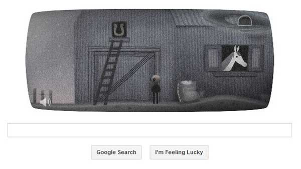 A screen grab of Google's doodle in honor of the Roswell incident, which was reported July 8, 1947. (Source: Google)