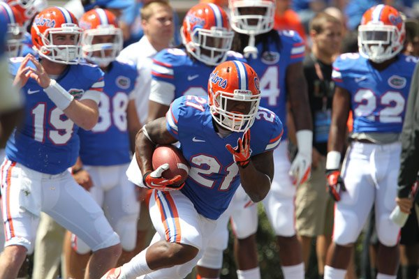 Freshman running back Kelvin Taylor may bring back memories of his father, former Florida great Fred Taylor, to Gator fans. (Source: Jay Metz/UF Communications)